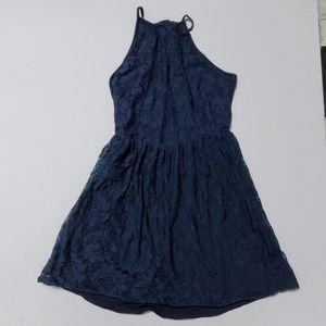 Blue lace summer dress L